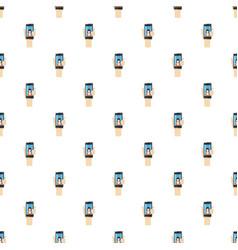 Womanl taking selfie photo on smartphone pattern vector