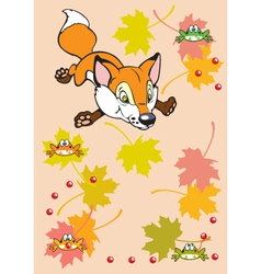 Childish fox playing with leaves and frogs vector