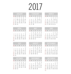 Pocket 2017 year calendar vector