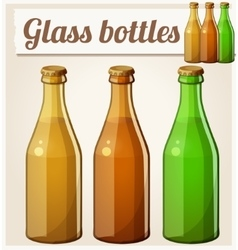 Glass bottles without label detailed icon vector