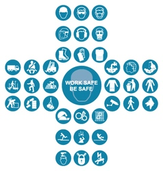 Blue cruciform health and safety icon collection vector