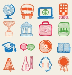 Hand drawn education icons vector
