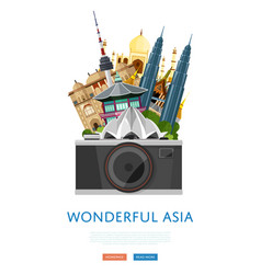 wonderful asia poster with famous attractions vector image