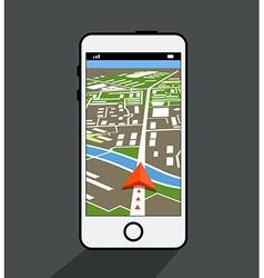 Modern smartphone with navigation application vector image