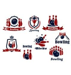 Bowling logo icons vector