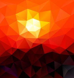 Red sundown polygon triangular pattern background vector