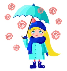 Girl with blue umbrella vector