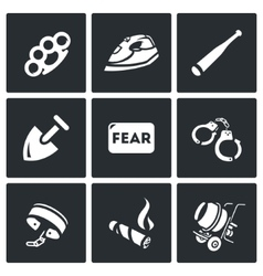 Set of slavery icons beatings torture vector