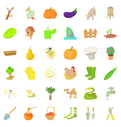 Agriculture icons set cartoon style vector