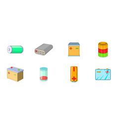 battery icon set cartoon style vector image