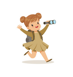 Beautiful little girl in scout costume running vector