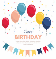 Birthday greeting card with balloons flags vector