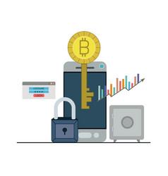 Bitcoin key login closeup with smartphone and safe vector