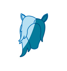 Blue silhouette of front face of female faceless vector