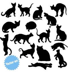 Cat silhouette set vector image