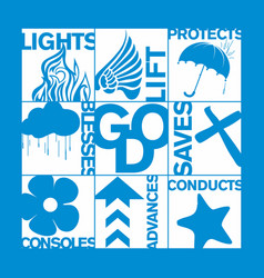 Christian print and bible symbols vector