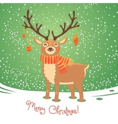Christmas card with reindeer Cute cartoon deer vector image vector image