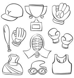 Collection of sport equipment hand draw style vector