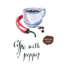 cup of black coffee with pepper vector image vector image