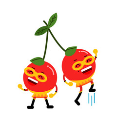 Cute cartoon smiling cherries superheroes in masks vector