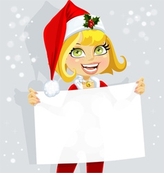 Cute girl in Santa suit hold blank banner vector image vector image