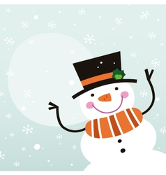 Cute happy cartoon Snowman with copy space vector image vector image