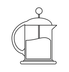 French press coffee maker outline vector