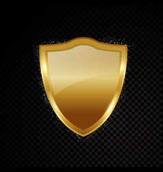 gold brightly shield glowing security protection vector image vector image
