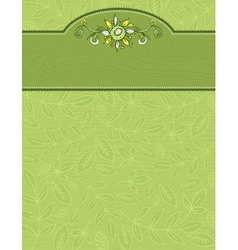 hand draw flowers and leafs on wooden green backgr vector image vector image