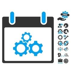 Mechanics gears calendar day icon with vector