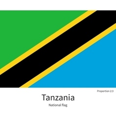 National flag of tanzania with correct proportions vector