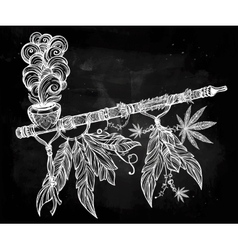 Native Indian cannabis smoking pipe of peace vector image