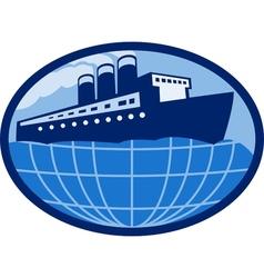 Ocean passenger liner boat ship globe vector
