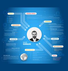 Original blue minimalist cv resume template vector