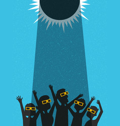 people celebrate watching the solar eclipse vector image