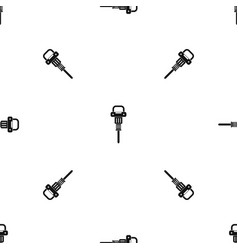pneumatic hammer pattern seamless black vector image vector image