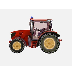 Red agricultural tractor vector image