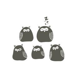 Set of sleeping owls vector