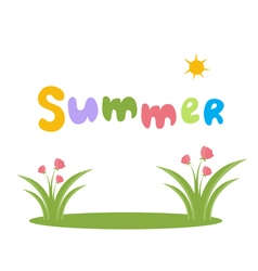 Text summer with flowers vector