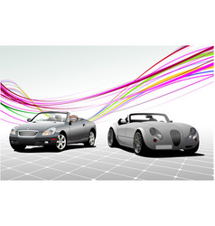 Two gray car cabriolets on the road vector