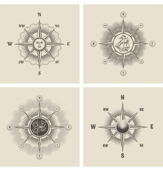 Vintage wind rose vector image