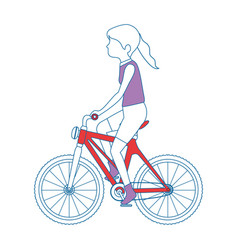 Woman cyclist riding a bicycle vector
