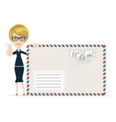 woman with envelope letter vector image