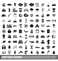 100 eco icons set simple style vector