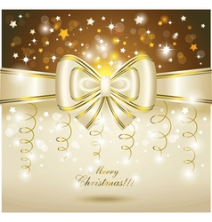 greeting card with white bow vector image