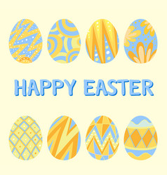 Happy easter card template with blue and yellow vector