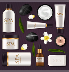 Tube cream or lotion spa ad pack boxes realistic vector
