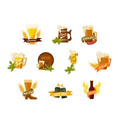 Glassware beer mugs and bottles brewery kegel vector