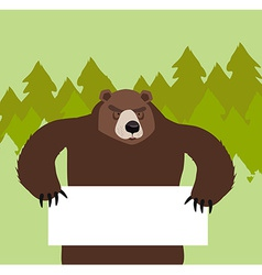 Wild bear holding a signin the forest vector