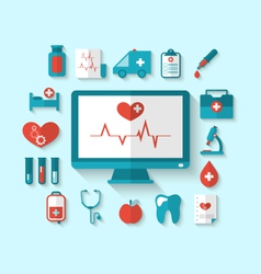 Set flat icons of objects and equipments medicine vector image